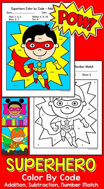 Design Your Own Superhero Worksheet Color by Number Activities Superhero theme Math Morning