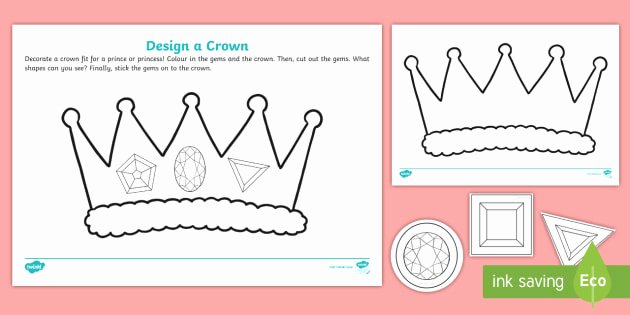 Design Your Own Superhero Worksheet Design A Crown for the Royal Baby 2d Shape Cutting Skills