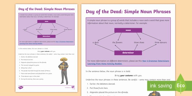 Diagramming Prepositional Phrases Worksheet New Day Of the Dead Simple Noun Phrases Worksheet