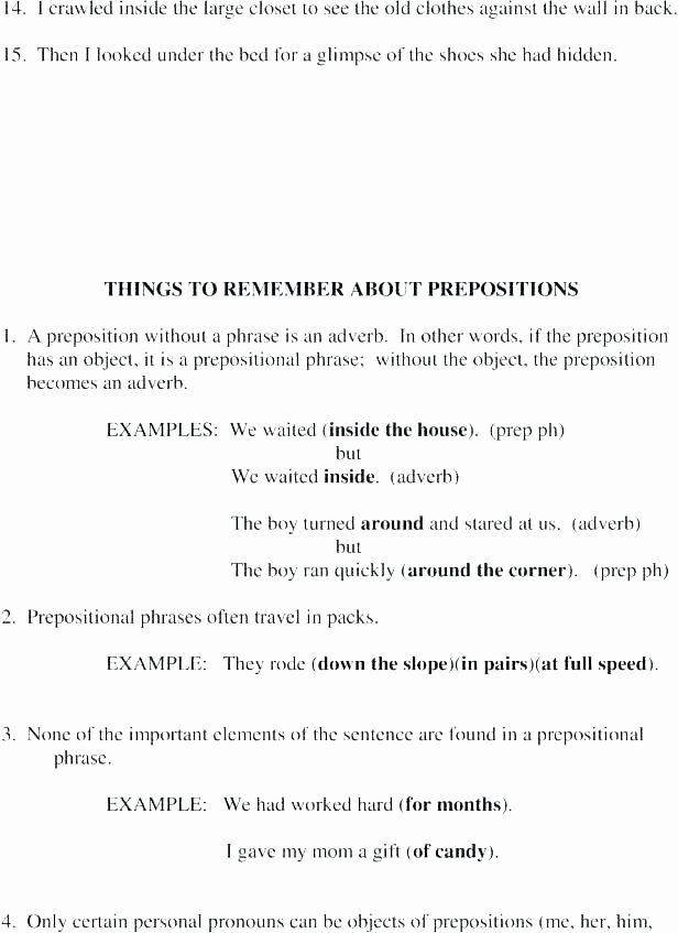 Diagramming Prepositional Phrases Worksheet Prepositional Phrase Worksheet Unique Best Prepositions In