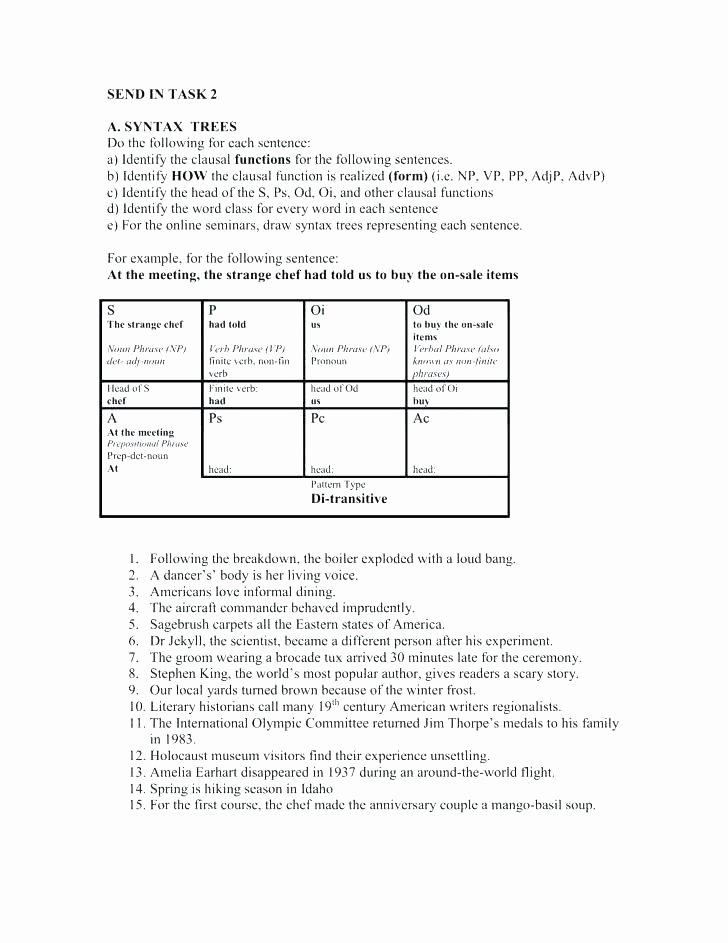 Diagramming Prepositional Phrases Worksheet Syntax Tree Diagram Worksheet