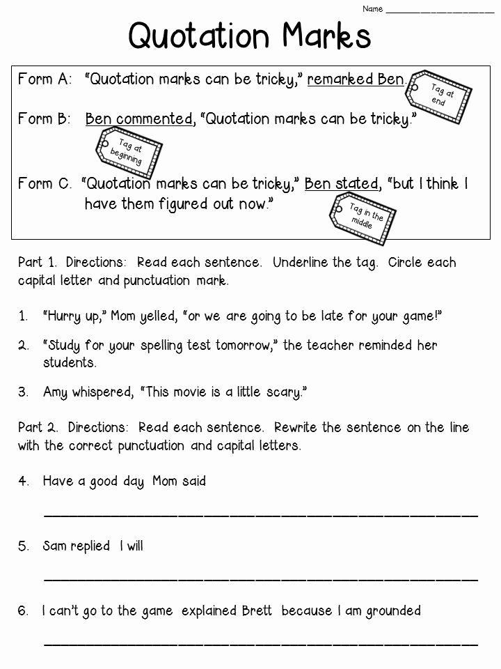 Dialogue Worksheets 3rd Grade Fresh Quotation Marks Anchor Chart with Freebie