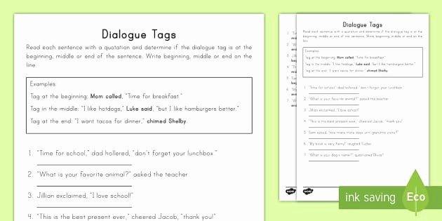Dialogue Worksheets 3rd Grade Fresh Us L 352 Dialogue Tags Activity Sheet English Ver 1 Writing