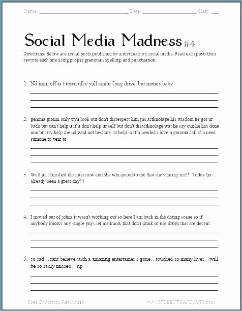 Dialogue Worksheets Middle School Capitalization Worksheet Middle School Worksheets Grade for