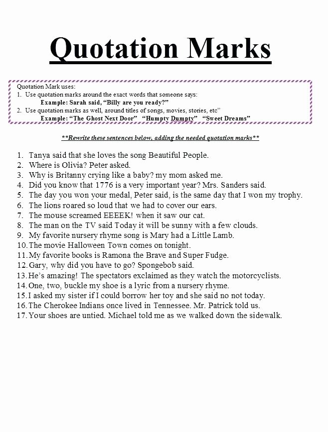 Dialogue Worksheets Middle School Quotation Marks Worksheets Great Best Mark for Grade 2