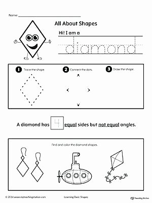Diamond Worksheets for Preschool Kindergarten and Shapes Worksheets School Es Identifying 3rd