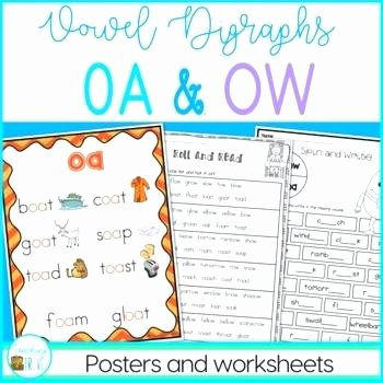 Digraph Worksheets for First Grade Oa and Ow Worksheets First Grade and Ow Vowel Digraphs