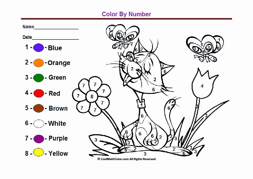 Dinosaur Worksheets for Kindergarten Preschool Color by Number Printable Worksheet