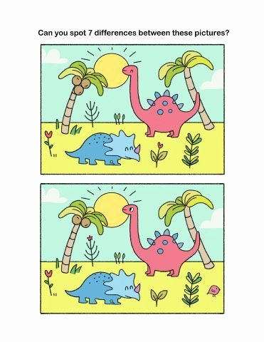 Dinosaur Worksheets Kindergarten Spot the Differences Challenge for Preschool and