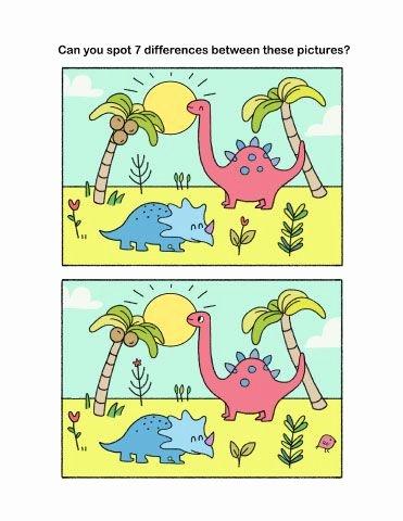 Dinosaur Worksheets Kindergarten Spot the Differences Challenge for Preschool and