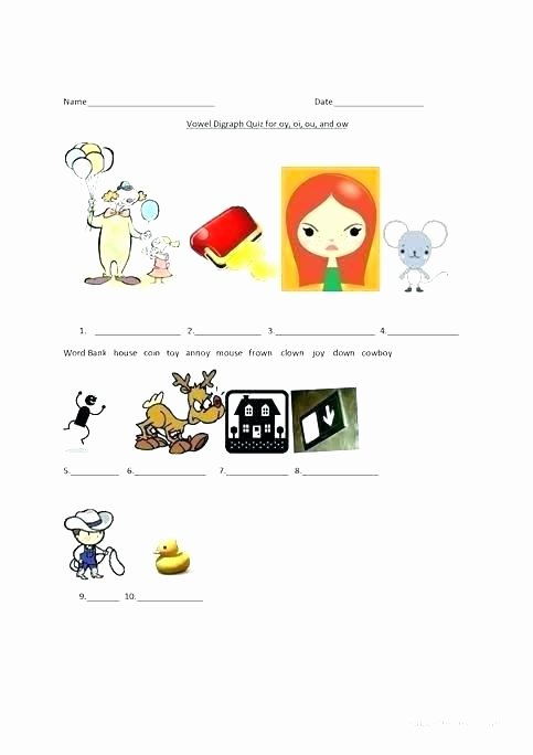 Diphthong Oi Oy Worksheets Words with Ou and Ow Worksheets