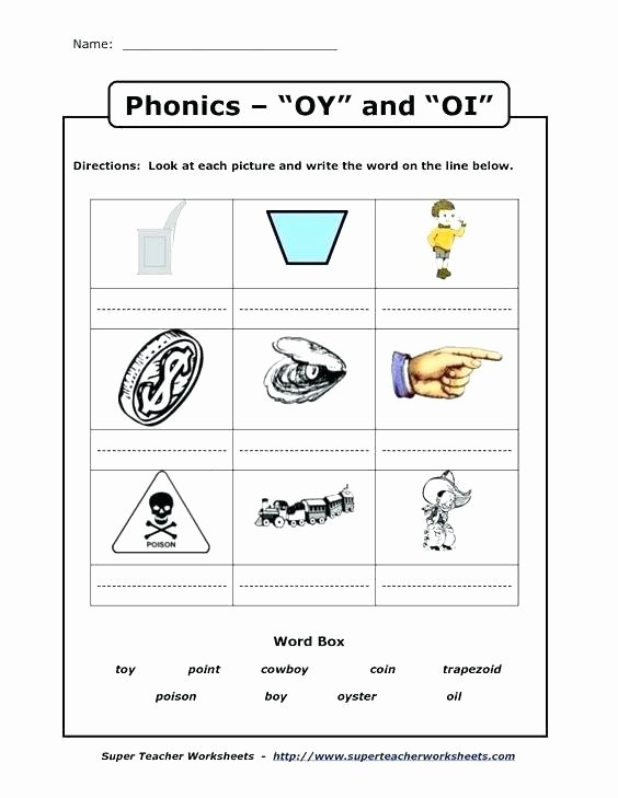 Diphthongs Oi Oy Worksheets Worksheets for Kids Oi Words Phonics and Education Free