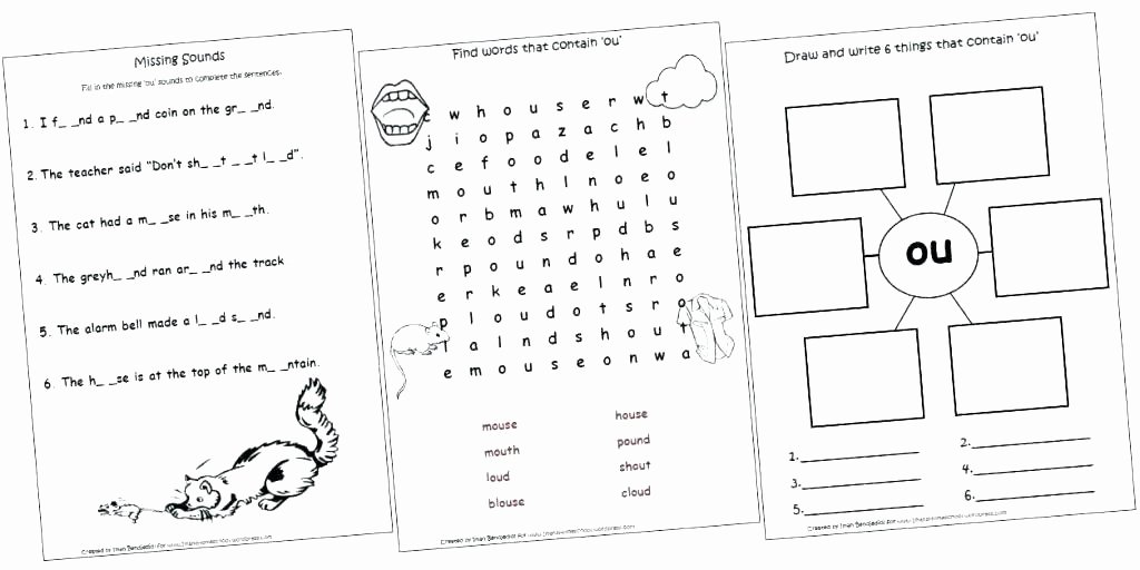 Diphthongs Worksheets Pdf Diphthong Worksheets Printable and Ow for Grade First 1st
