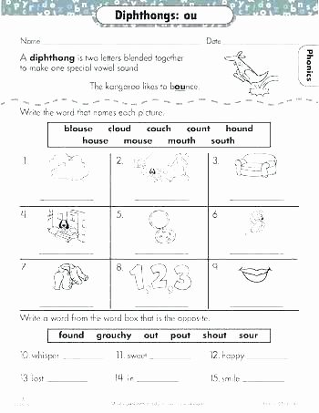 Diphthongs Worksheets Pdf Diphthongs and Vowel Oi Ow Worksheets In Vowels Oy Ou Pdf