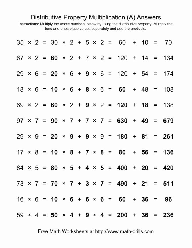 Distributive Property Worksheet 6th Grade Distributive Property Multiplication Worksheets Balancing