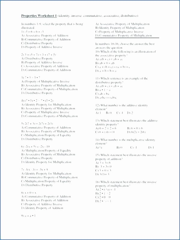 Distributive Property Worksheets Pdf Multiplications Grade Math Mutative Property Worksheets