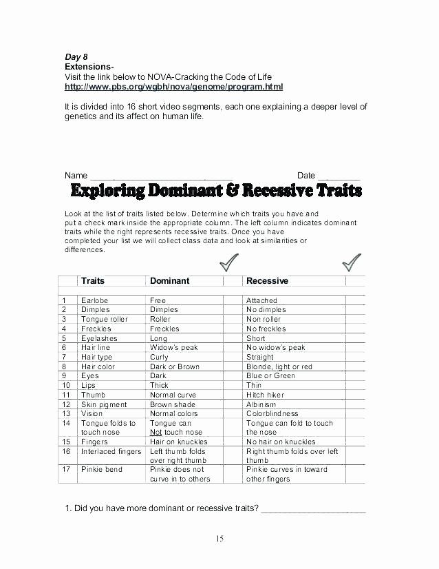 Dominant and Recessive Traits Worksheet Elegant Math Worksheets Jokes – Kcctalmavale