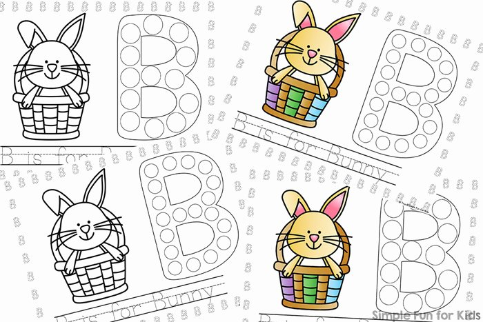 Dot Art Coloring Pages B is for Bunny Dot Marker Coloring Pages Simple Fun for Kids