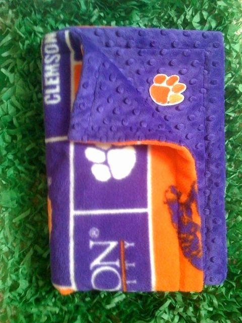 Dot to Dot Adults Clemson Minky Dot & Anti Fleece Blanket for Pets Kids and