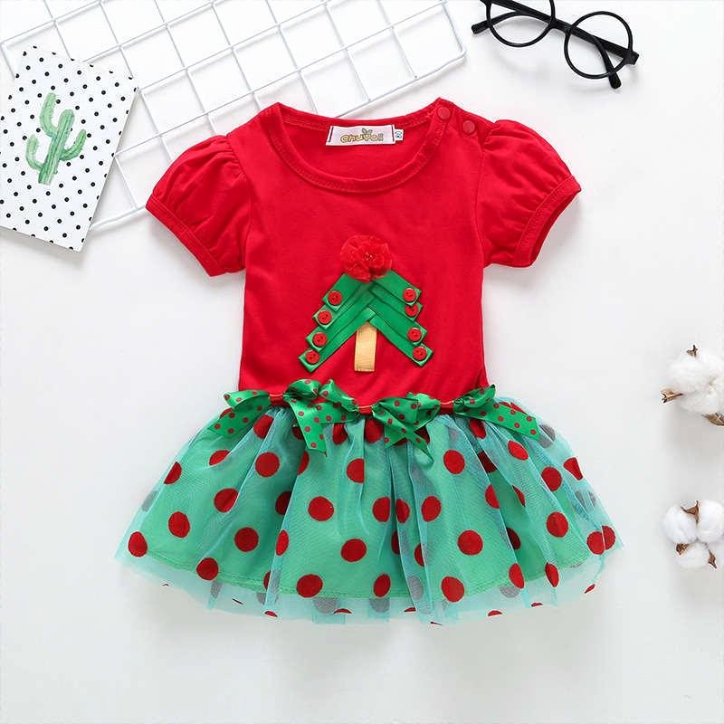 Dot to Dot Christmas Printables Good Quality 2019 New Arrival Christmas Dress Dots Floral Christmas Tree Ball Gown Summer Dress O Neck Cotton Kids Dress for Girl