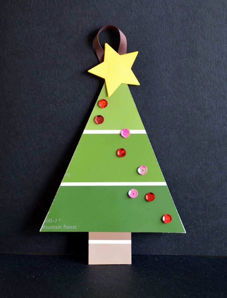 Dot to Dot Christmas Printables Paint Chip Christmas Tree ornaments