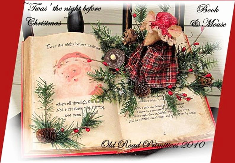 Dot to Dot Christmas Printables Primitive Christmas Mouse Pattern Twas the Night before Christmas Book and Mouse Pattern