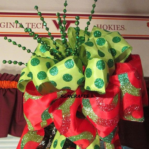 Dot to Dot Christmas Printables Red and Green Polka Dot Christmas Tree topper Wired Ribbon