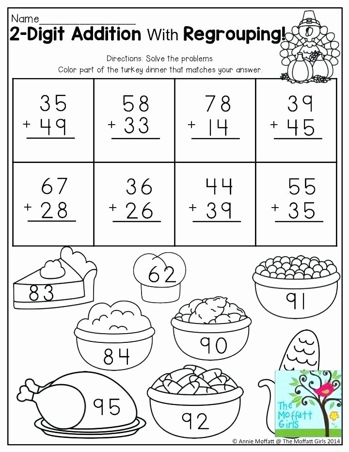 Double Facts Worksheets 4 Digit Addition with Regrouping Worksheets