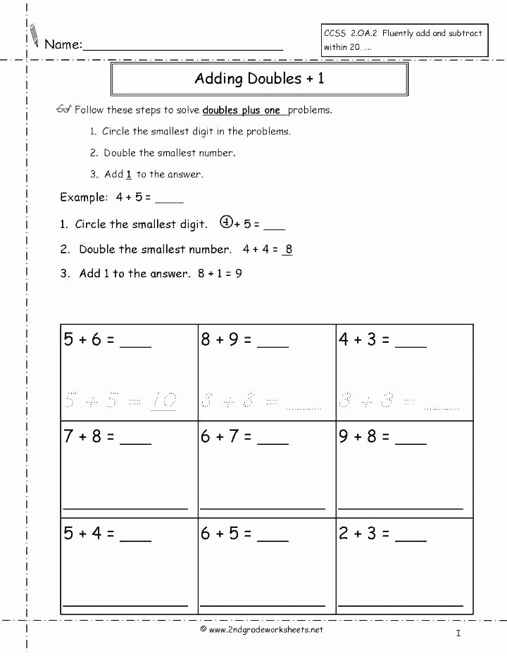 Doubles Addition Facts Worksheets Doubling Worksheets Year 2 Doubles Math Facts Grade Double