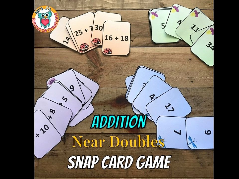 Doubles and Near Doubles Worksheets Addition Near Doubles Snap Card Game Free Math Mathgames