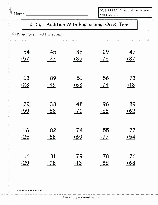 Doubles Facts Worksheets Two Digit Addition Worksheets with Regrouping – Trubs