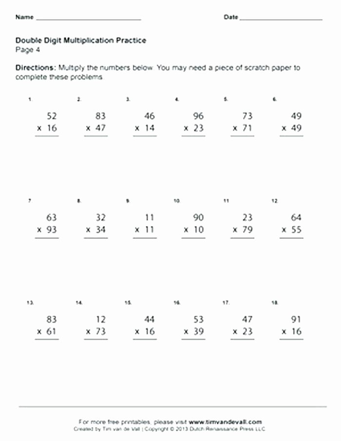 Doubles Math Fact Worksheets Two Digit Multiplication Worksheets E by Three 7 Double