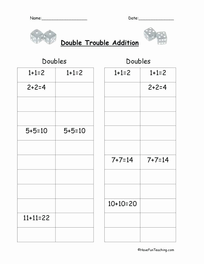 Doubles Math Facts Worksheet Doubles Plus Minus E Worksheets Addition within Doubles