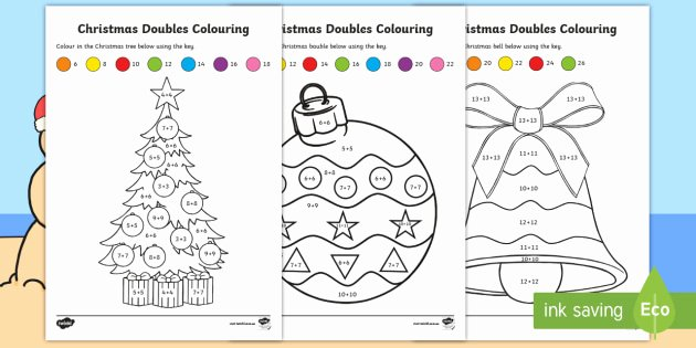 Doubles Math Worksheet Christmas Doubles Colouring Worksheet Worksheets Maths