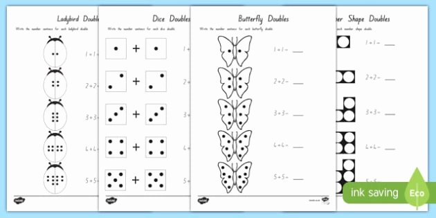Doubles Math Worksheet Doubles to 10 Worksheet Worksheets Maths Numeracy New