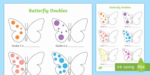 Doubles Math Worksheets butterfly Doubles to 20 Worksheet Eyfs Early Years Ks1