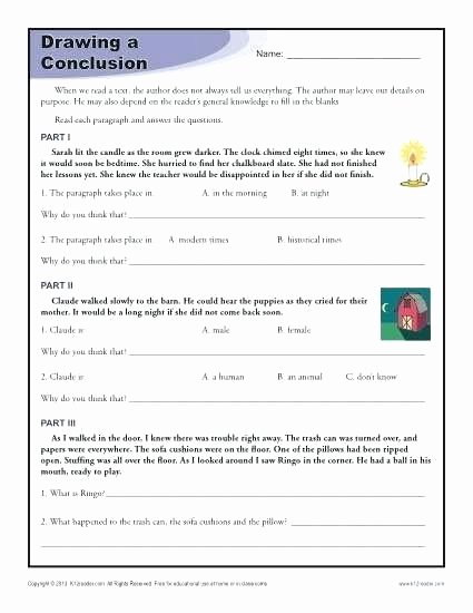Drawing Conclusions Worksheets 4th Grade Making Inferences Worksheets Grade Best 1