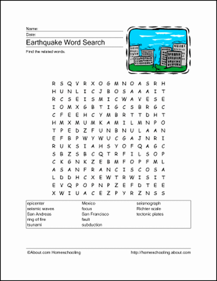 Earthquake Worksheets Middle School Fresh Download these Printable Earthquake Word Games