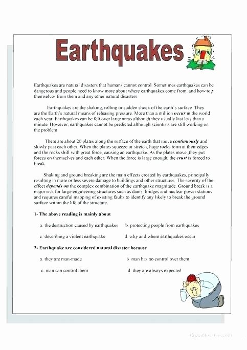 Earthquake Worksheets Middle School Luxury Teaching Earthquakes by Earthquake Worksheets for Elementary