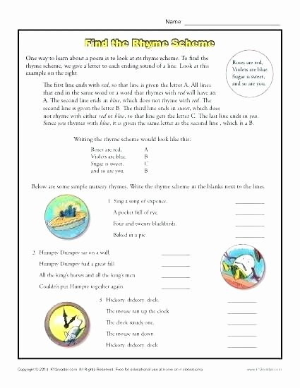 Earthquake Worksheets Middle School Unique Find the Rhyme Scheme Reading Prehension Activities