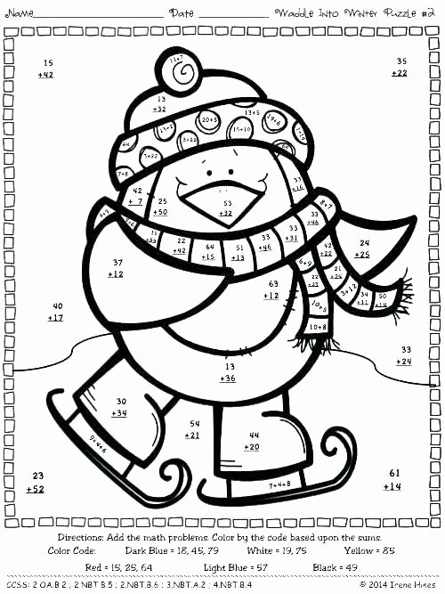 Easy Color by Number Worksheets Winter Color by Number White Color Code Math Sight Word