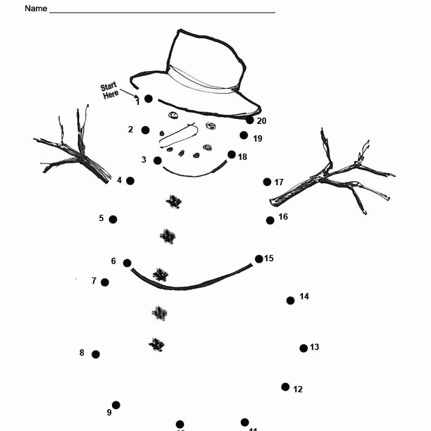Easy Connect the Dots Printables An Easy Free Printable Snowman Dot to Dot for Christmas