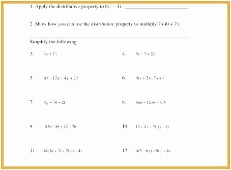 Easy Distributive Property Worksheet Distributive Property Worksheets 7th Grade Equations Algebra