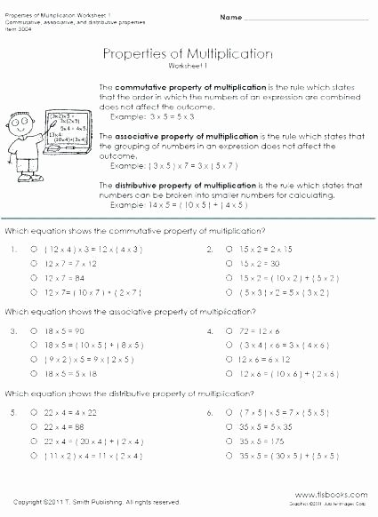 Easy Distributive Property Worksheet Properties Addition Worksheets Pdf