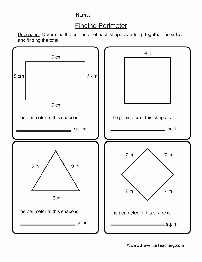 Easy Perimeter Worksheets 5th Grade Math Geometry Worksheets