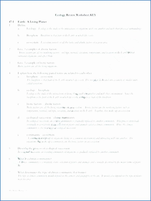 Ecosystem Worksheet Answer Key Awesome Ecology Worksheets for High School Ecological Success