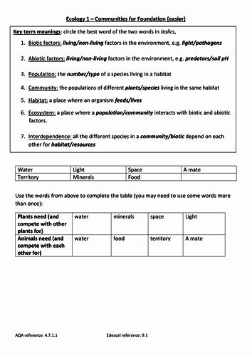 Ecosystem Worksheet Answer Key Beautiful Gcse Ecology Worksheets New Spec for Foundation Tier