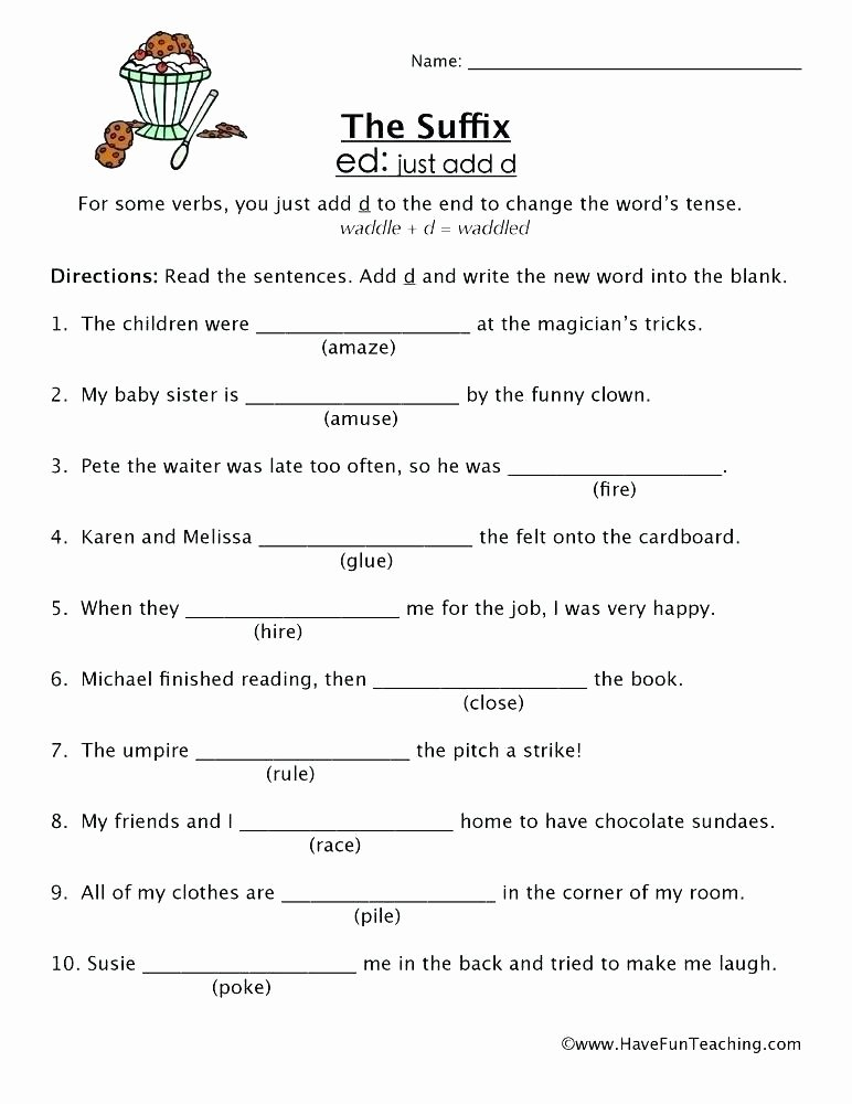 Ed and Ing Endings Worksheets Free Printable Grammar Worksheet form the Verb as Noun