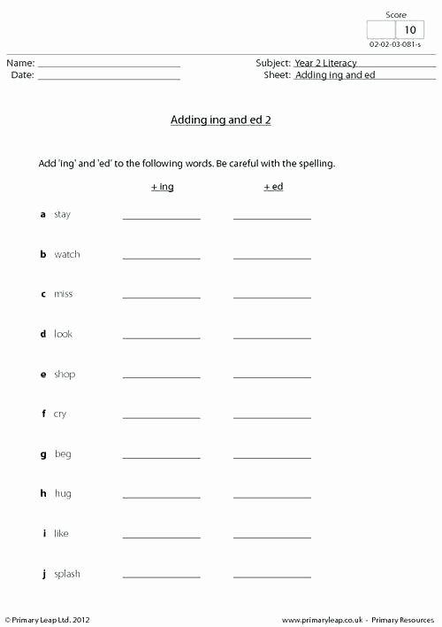 Ed and Ing Endings Worksheets Ing Worksheets Adding Ed Ing Worksheets 2nd Grade 7