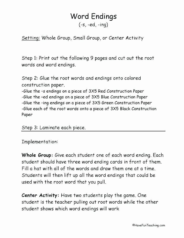 Ed and Ing Endings Worksheets Verb Ends Add Adjectives End In Ed and Get Verbs Worksheets